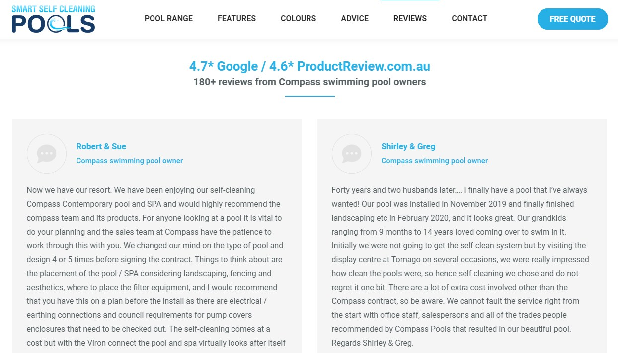 Customer testimonials reviews for pool companies in QLD